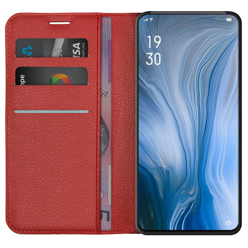 Leather Wallet Case & Card Holder for Oppo Reno 5G / 10x Zoom - Red